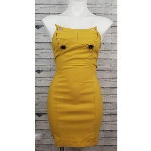 Yellow Strapless Bodycon Mini Dress Sz Medium